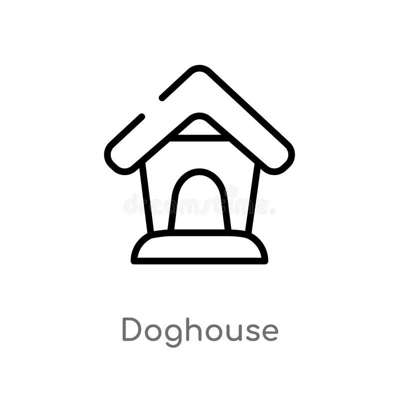 konturu doghouse wektoru ikona odosobniona czarna prosta kreskowego elementu ilustracja od zwierzęcia pojęcia Editable wektorowy  ilustracji