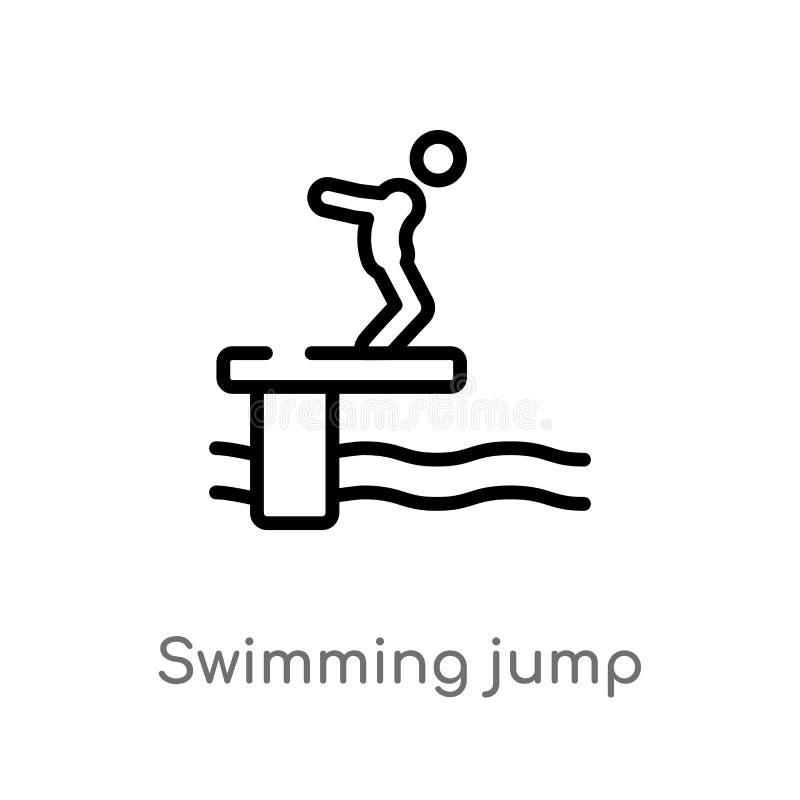 konturu dopłynięcia skoku wektoru ikona odosobniona czarna prosta kreskowego elementu ilustracja od sporta pojęcia Editable wekto ilustracji