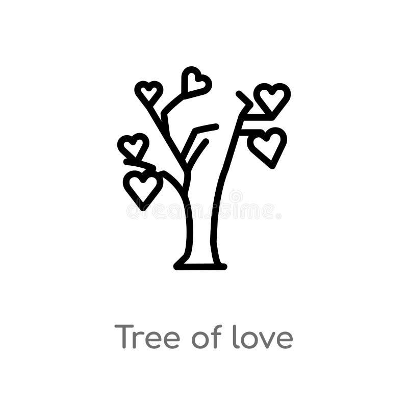 konturu drzewo miłość wektoru ikona odosobniona czarna prosta kreskowego elementu ilustracja od ekologii pojęcia Editable wektoro ilustracja wektor