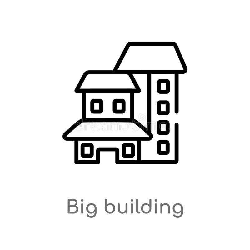 konturu dużego budynku wektoru ikona odosobniona czarna prosta kreskowego elementu ilustracja od budowy pojęcia Editable wektor ilustracja wektor
