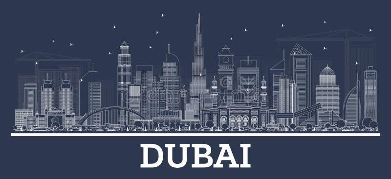 Konturu Dubaj UAE linia horyzontu z Nowożytną architekturą royalty ilustracja