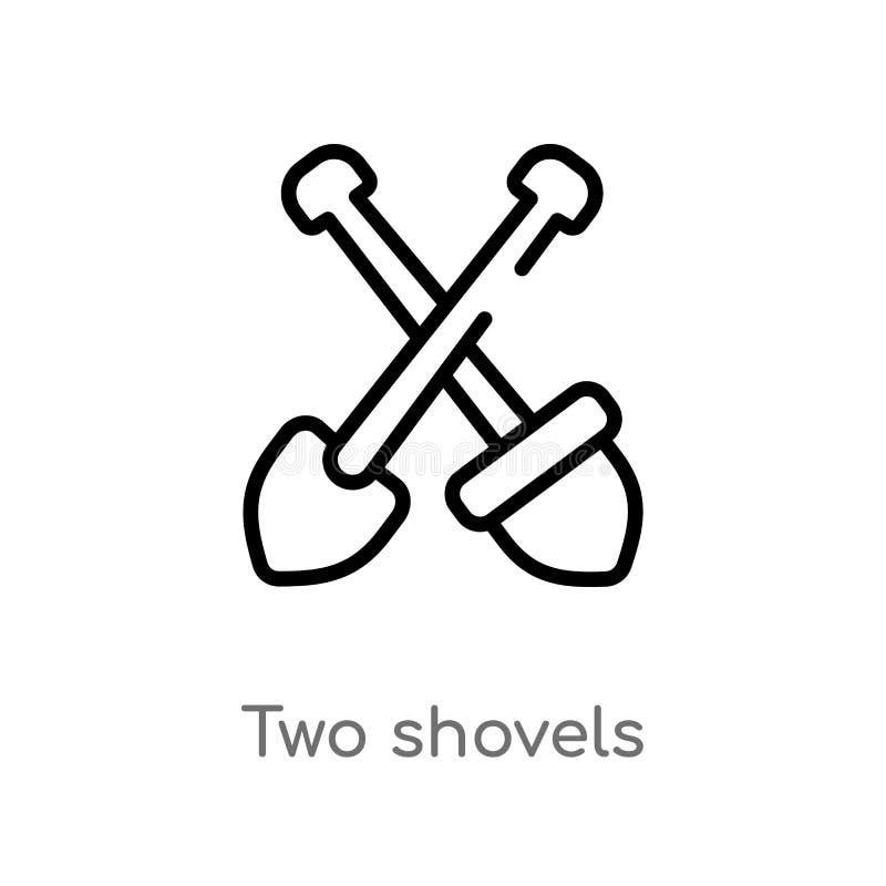 konturu dwa łopat wektoru ikona odosobniona czarna prosta kreskowego elementu ilustracja od budowy pojęcia Editable wektorowy ude ilustracji