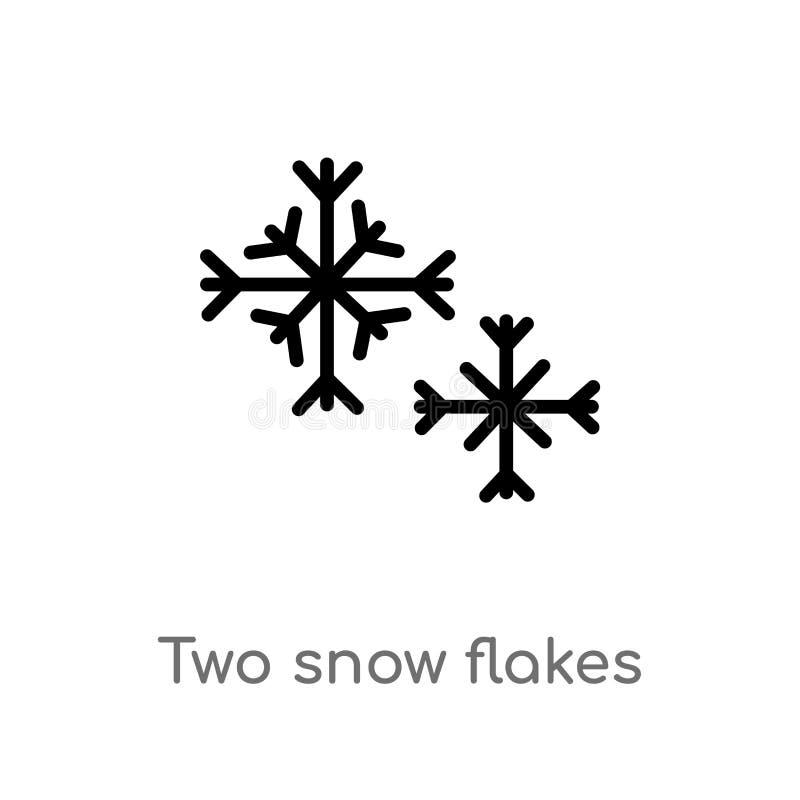 konturu dwa płatków wektoru śnieżna ikona odosobniona czarna prosta kreskowego elementu ilustracja od kształta pojęcia Editable w royalty ilustracja