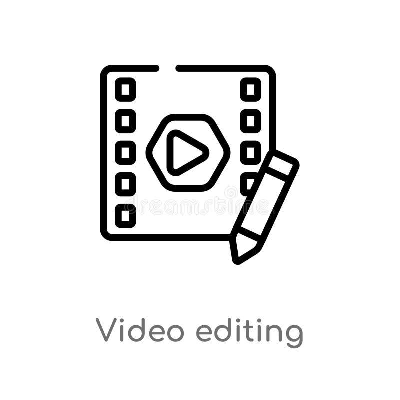 konturu edytorstwa wektoru wideo ikona odosobniona czarna prosta kreskowego elementu ilustracja od rozrywki i arkady pojęcia _ royalty ilustracja