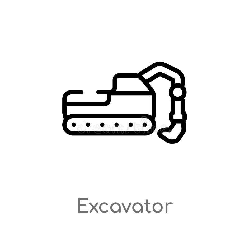 konturu ekskawatoru wektoru ikona odosobniona czarna prosta kreskowego elementu ilustracja od przemys?u poj?cia Editable wektorow royalty ilustracja