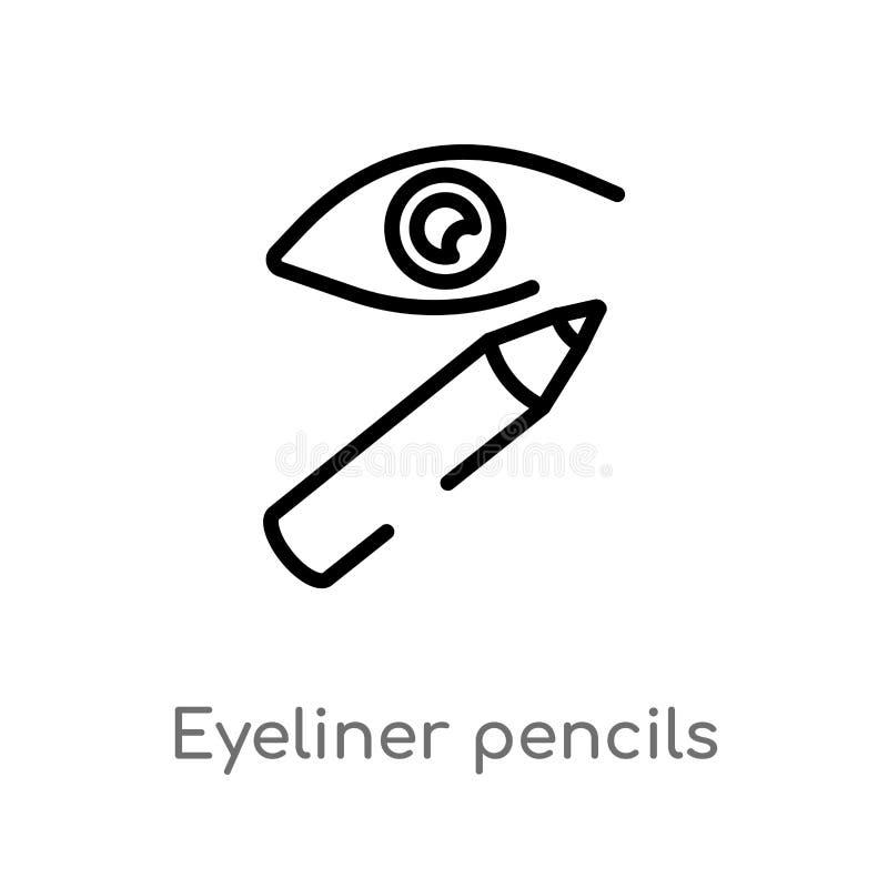 konturu eyeliner ołówków wektoru ikona odosobniona czarna prosta kreskowego elementu ilustracja od kobiety ubraniowego pojęcia Ed ilustracji