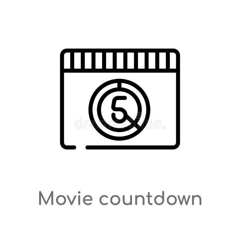 konturu filmu odliczanie wektoru ikona odosobniona czarna prosta kreskowego elementu ilustracja od kinowego poj?cia Editable wekt ilustracja wektor
