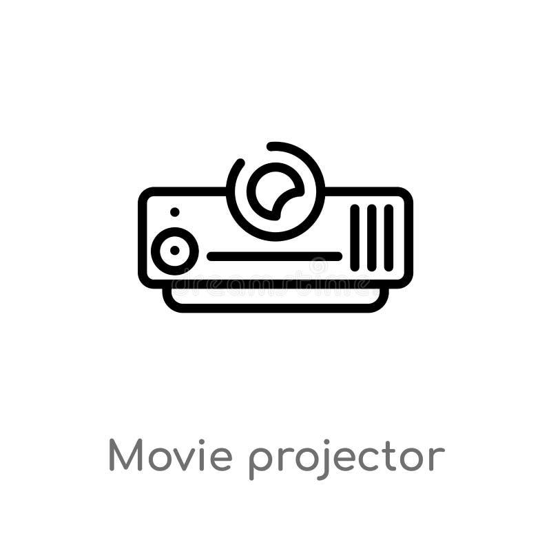 konturu filmu projektoru frontowego widoku wektoru ikona odosobniona czarna prosta kreskowego elementu ilustracja od kinowego poj ilustracji