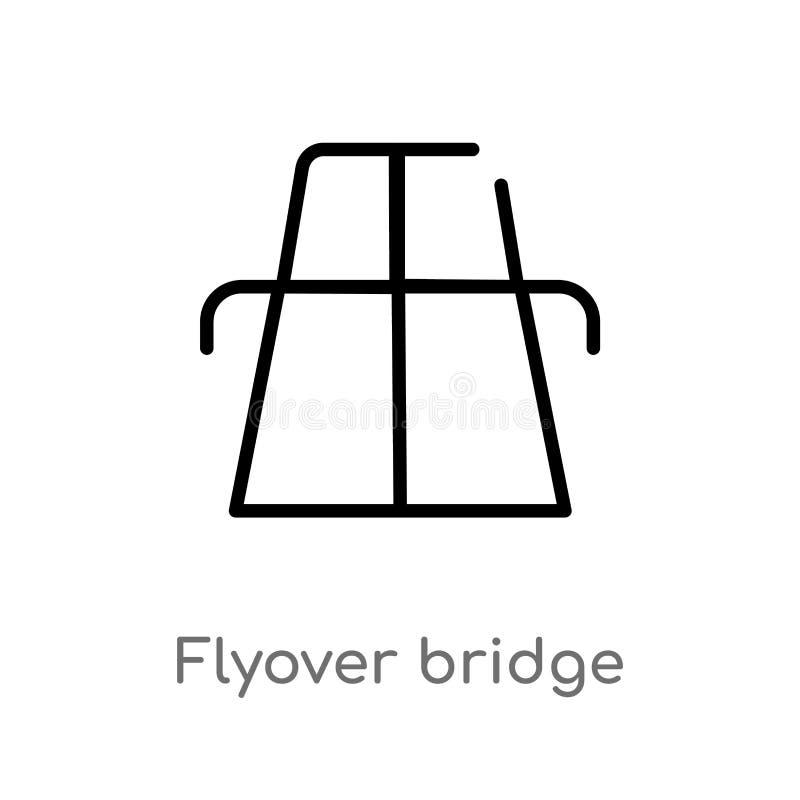 konturu flyover mostu wektoru ikona odosobniona czarna prosta kreskowego elementu ilustracja od map i flagi poj?cia Editable wekt royalty ilustracja