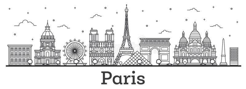 Konturu Francja miasta Paryska linia horyzontu z Historycznymi budynkami Isolat ilustracja wektor