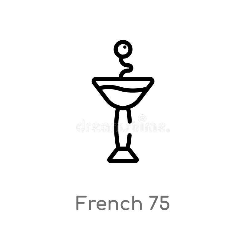 konturu francuza 75 wektoru ikona odosobniona czarna prosta kreskowego elementu ilustracja od napoju poj?cia editable wektorowy u royalty ilustracja