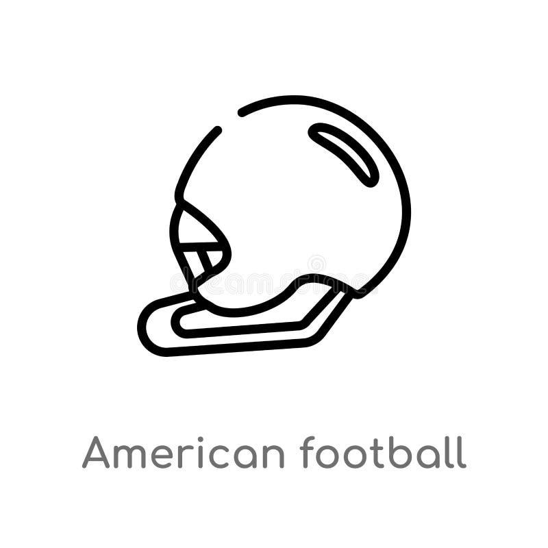 konturu futbolu amerykańskiego hełma wektoru ikona odosobniona czarna prosta kreskowego elementu ilustracja od futbolu ameryka?sk ilustracja wektor