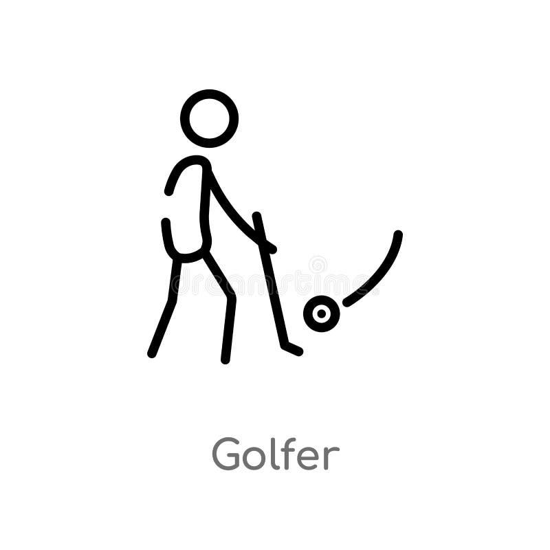 konturu golfisty wektoru ikona odosobniona czarna prosta kreskowego elementu ilustracja od użytkownika pojęcia editable wektorowa ilustracja wektor