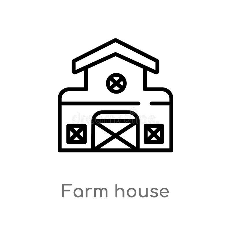 konturu gospodarstwa rolnego domu wektoru ikona odosobniona czarna prosta kreskowego elementu ilustracja od uprawia? ziemi? poj?c ilustracja wektor