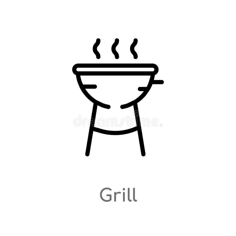 konturu grilla wektoru ikona odosobniona czarna prosta kreskowego elementu ilustracja od campingowego poj?cia editable wektorowa  ilustracja wektor