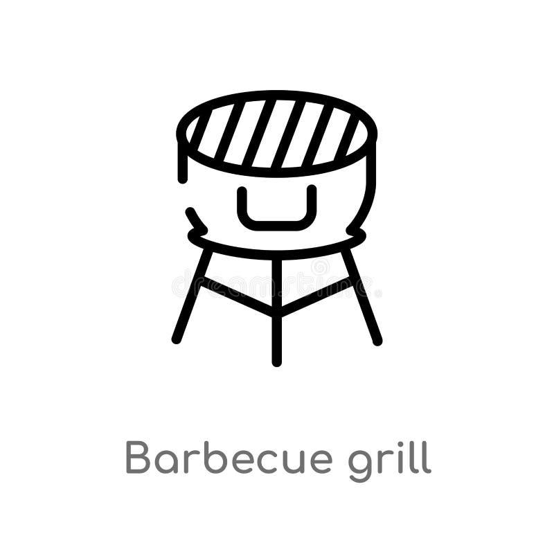 konturu grilla grilla wektoru ikona odosobniona czarna prosta kreskowego elementu ilustracja od karmowego poj?cia Editable wektor royalty ilustracja