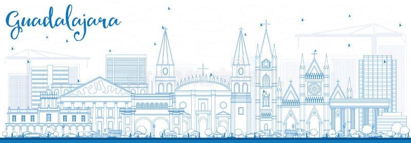 Konturu Guadalajara linia horyzontu z Błękitnymi budynkami ilustracja wektor