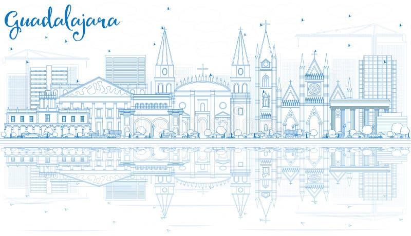 Konturu Guadalajara linia horyzontu z Błękitnymi odbiciami i budynkami ilustracji