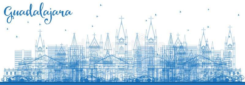 Konturu Guadalajara Meksyk linia horyzontu z Błękitnymi budynkami ilustracja wektor