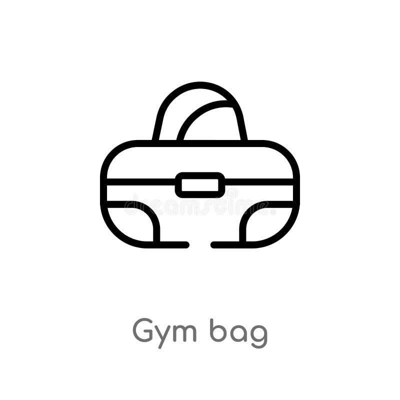 konturu gym torby wektoru ikona odosobniona czarna prosta kreskowego elementu ilustracja od gym i sprawności fizycznej pojęcia Ed royalty ilustracja