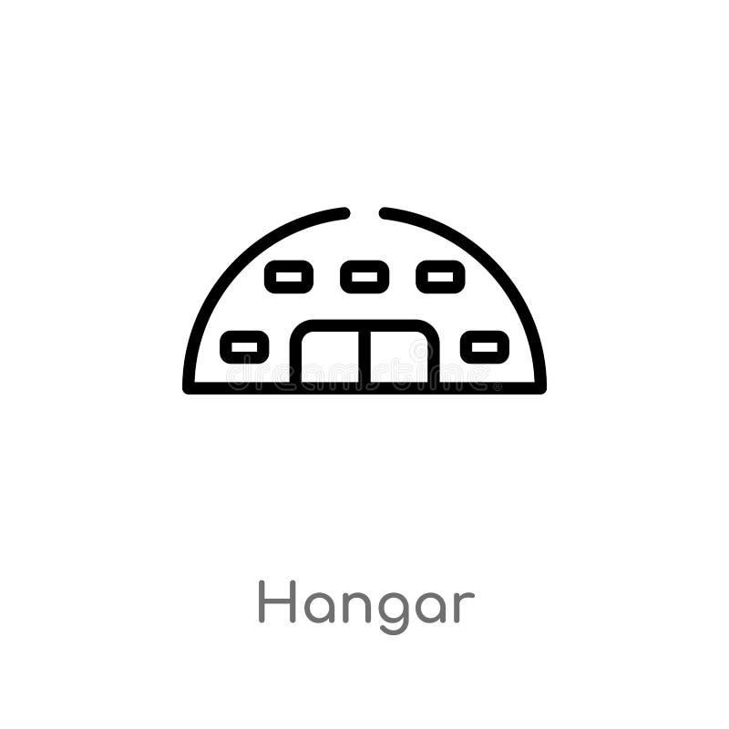 konturu hangaru wektoru ikona odosobniona czarna prosta kreskowego elementu ilustracja od lotniskowego ?miertelnie poj?cia Editab ilustracji
