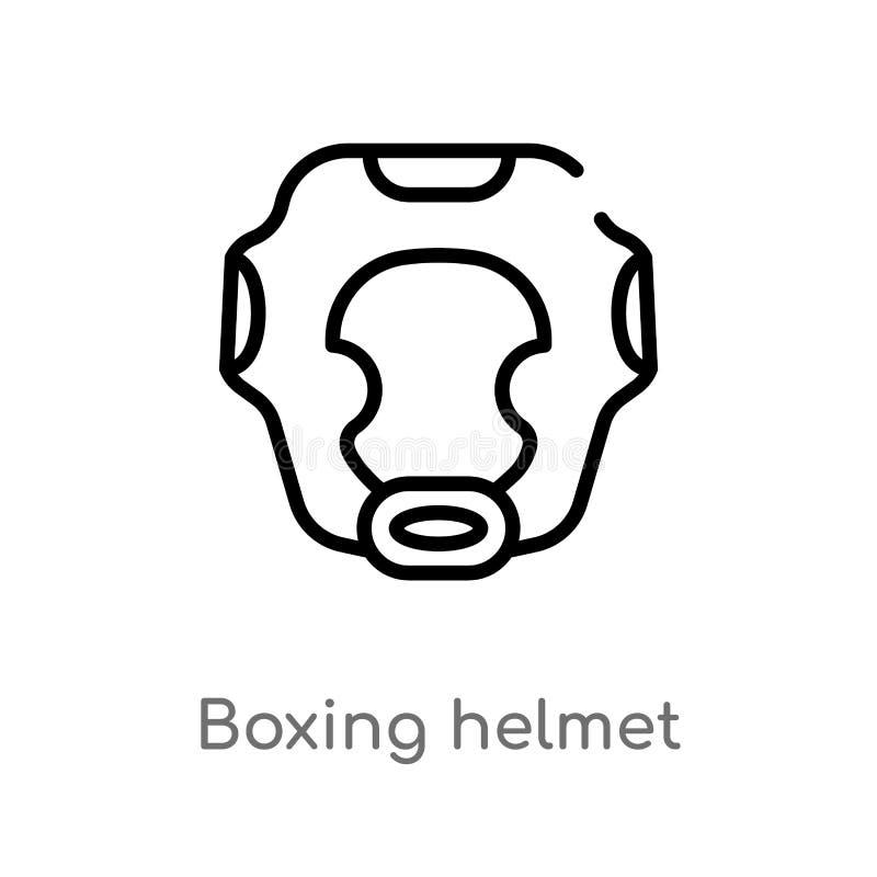 konturu hełma wektoru bokserska ikona odosobniona czarna prosta kreskowego elementu ilustracja od ochrony poj?cia Editable wektor ilustracji
