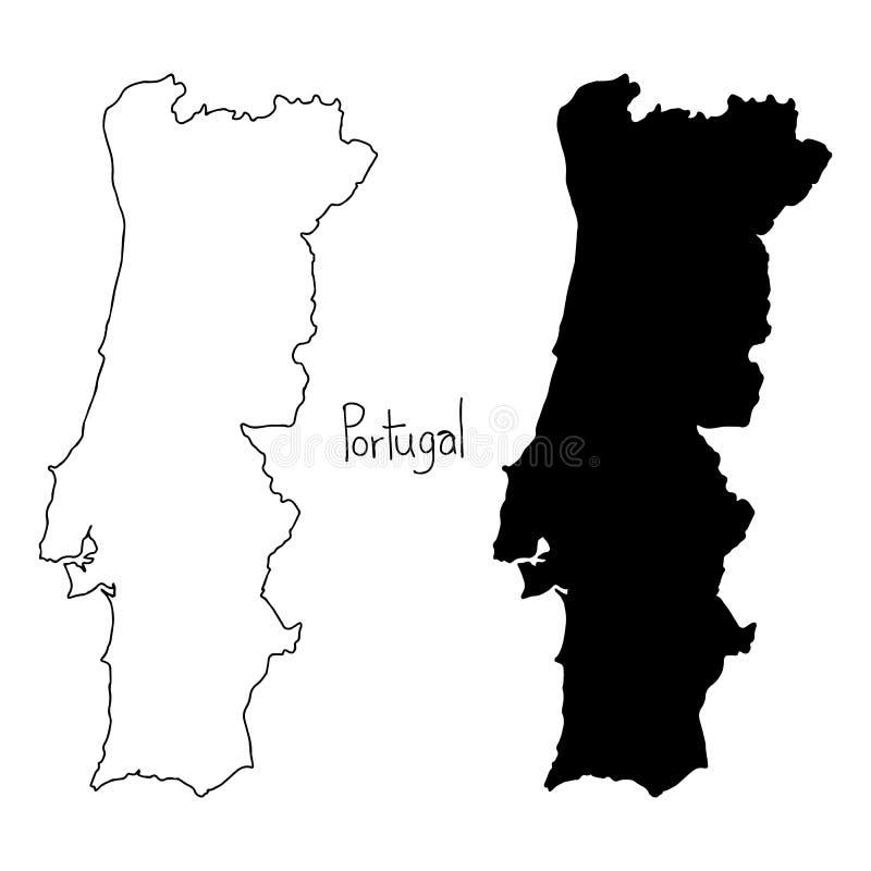 Konturu i sylwetki mapa Portugal - wektorowy ilustracyjny Han ilustracja wektor