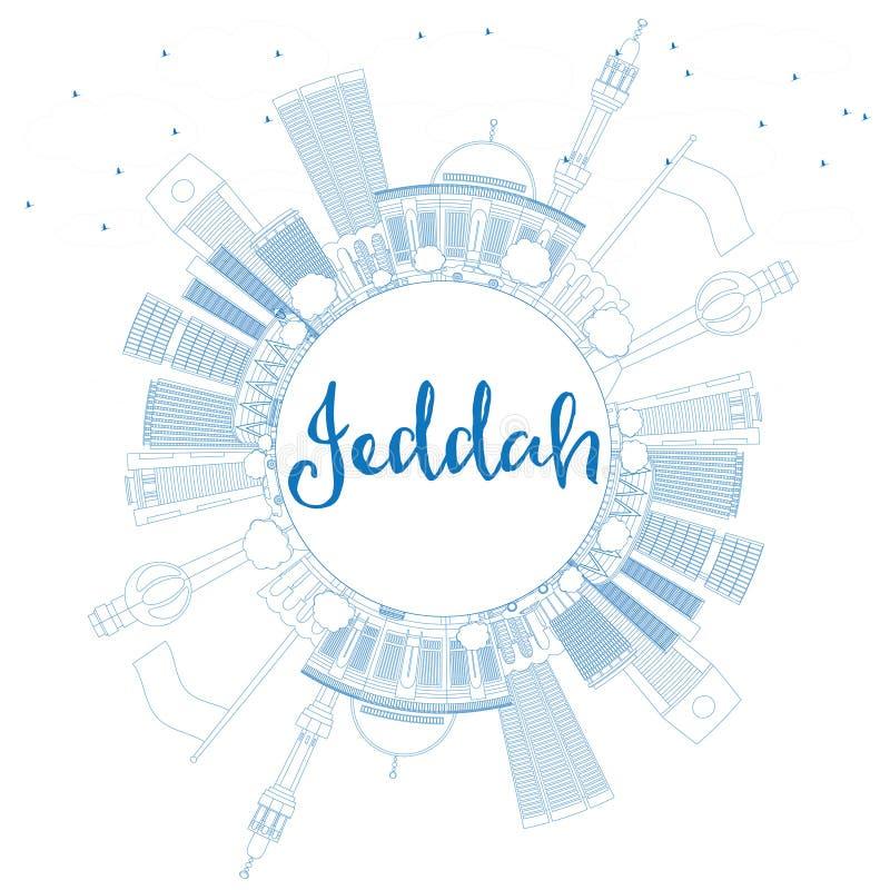 Konturu Jeddah linia horyzontu z Błękitną kopii przestrzenią i budynkami ilustracja wektor