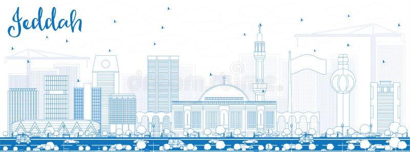 Konturu Jeddah linia horyzontu z Błękitnymi budynkami royalty ilustracja