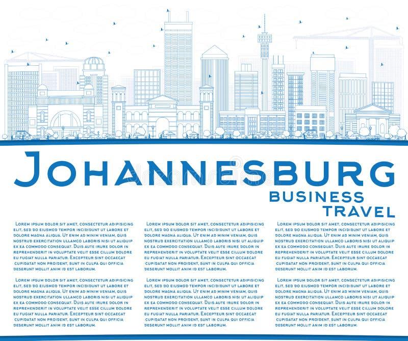 Konturu Johannesburg linia horyzontu z Błękitną kopii przestrzenią i budynkami ilustracji