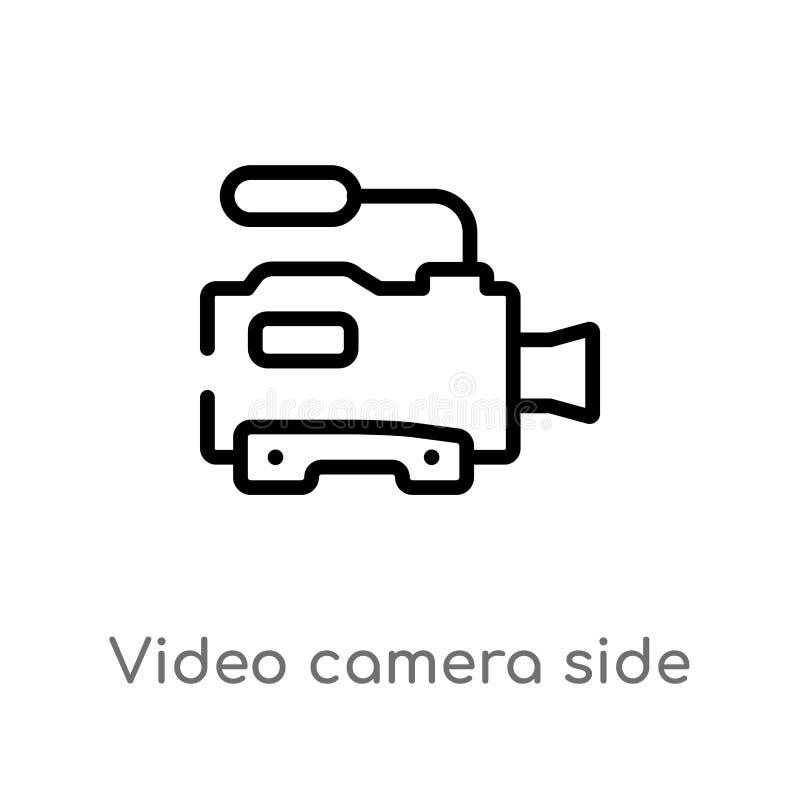 konturu kamera wideo bocznego widoku wektoru ikona odosobniona czarna prosta kreskowego elementu ilustracja od technologii poj?ci royalty ilustracja