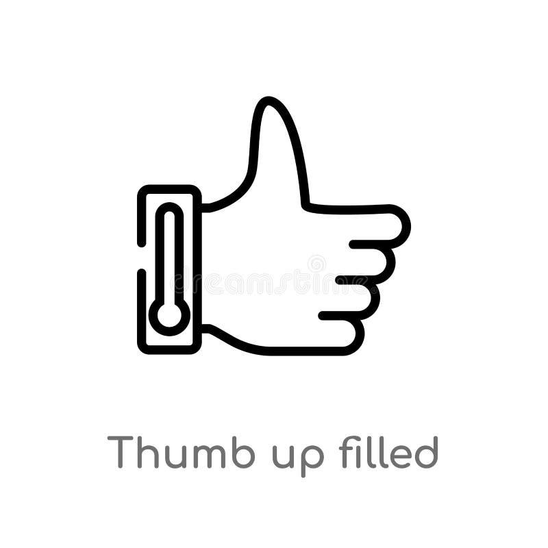 konturu kciuk w g?r? wype?niaj?cej gesta wektoru ikony odosobniona czarna prosta kreskowego elementu ilustracja od znaka poj?cia  royalty ilustracja
