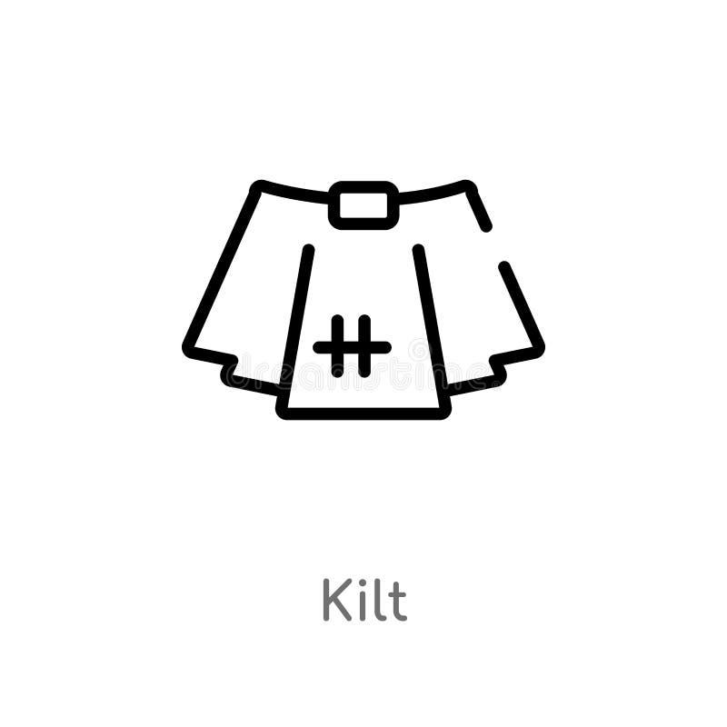konturu kilt wektoru ikona odosobniona czarna prosta kreskowego elementu ilustracja od odzie?owego poj?cia editable wektorowa ude ilustracji