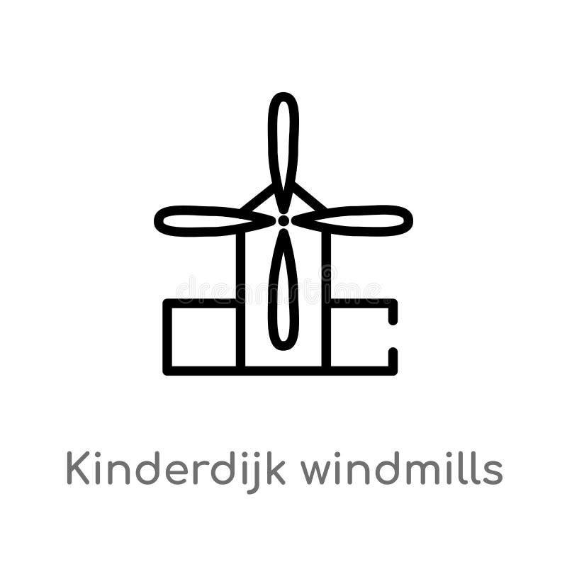 konturu kinderdijk wiatraczk?w wektoru ikona odosobniona czarna prosta kreskowego elementu ilustracja od zabytku poj?cia Editable ilustracji