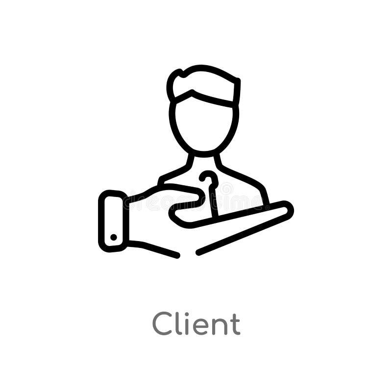 konturu klienta wektoru ikona odosobniona czarna prosta kreskowego elementu ilustracja od technologii pojęcia editable wektorowy  royalty ilustracja