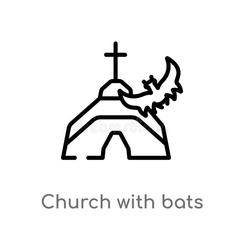 konturu kościół z nietoperza wektoru ikoną odosobniona czarna prosta kreskowego elementu ilustracja od innego pojęcia Editable we ilustracji