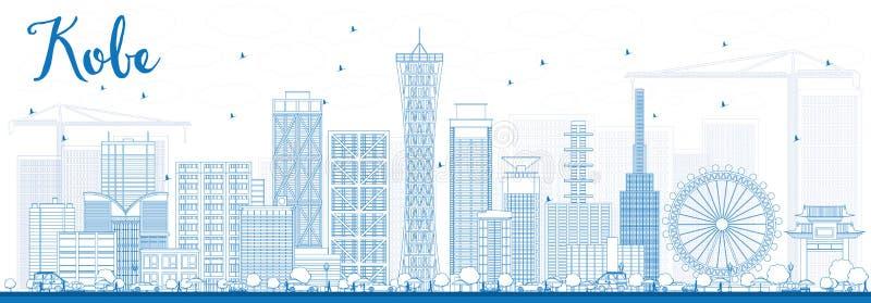 Konturu Kobe linia horyzontu z Błękitnymi budynkami ilustracja wektor