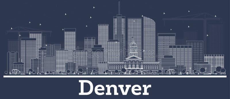 Konturu Kolorado miasta Denwerski linia horyzontu z Białymi budynkami ilustracja wektor