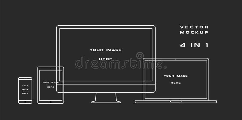 Konturu komputerowy monitor, laptop, pastylka, smartphone odizolowywający na czarnym tle Może Używać dla szablon prezentaci royalty ilustracja