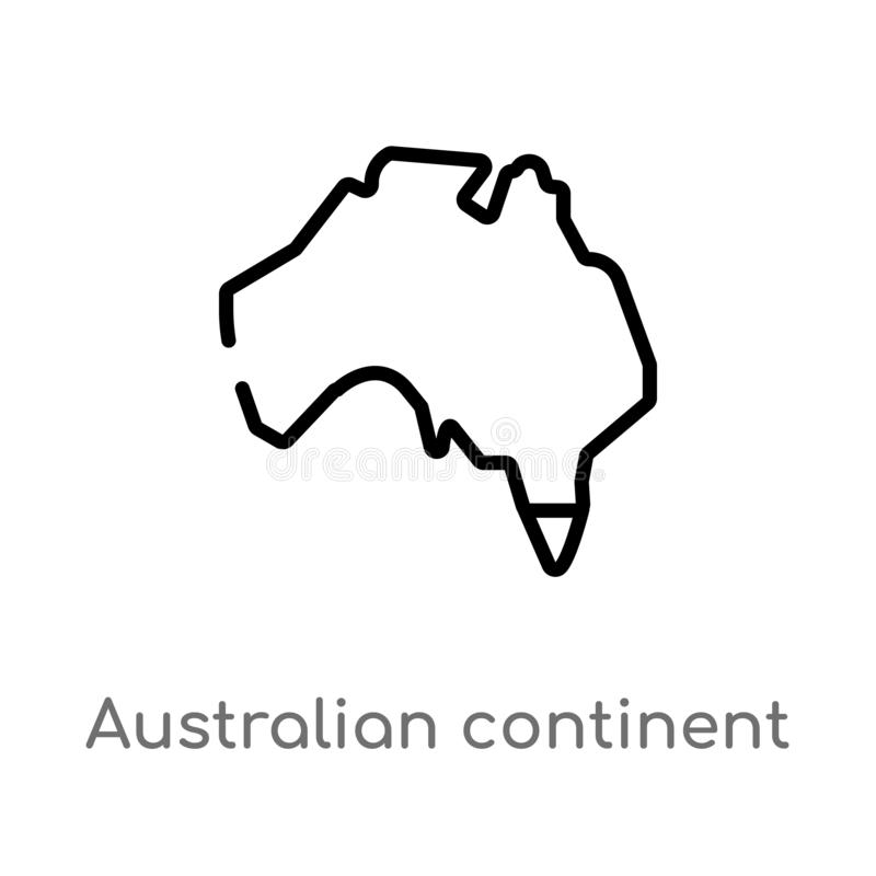 konturu kontynentu wektoru australijska ikona odosobniona czarna prosta kreskowego elementu ilustracja od kultury pojęcia Editabl ilustracja wektor