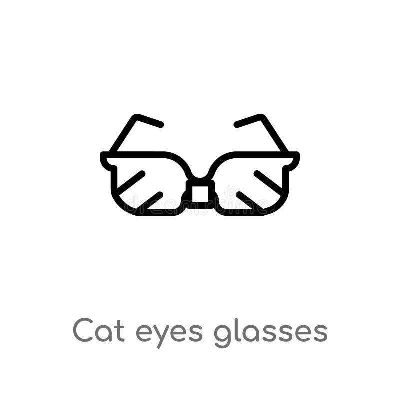 konturu kota oczu szkieł wektoru ikona odosobniona czarna prosta kreskowego elementu ilustracja od mody pojęcia Editable wektorow ilustracja wektor