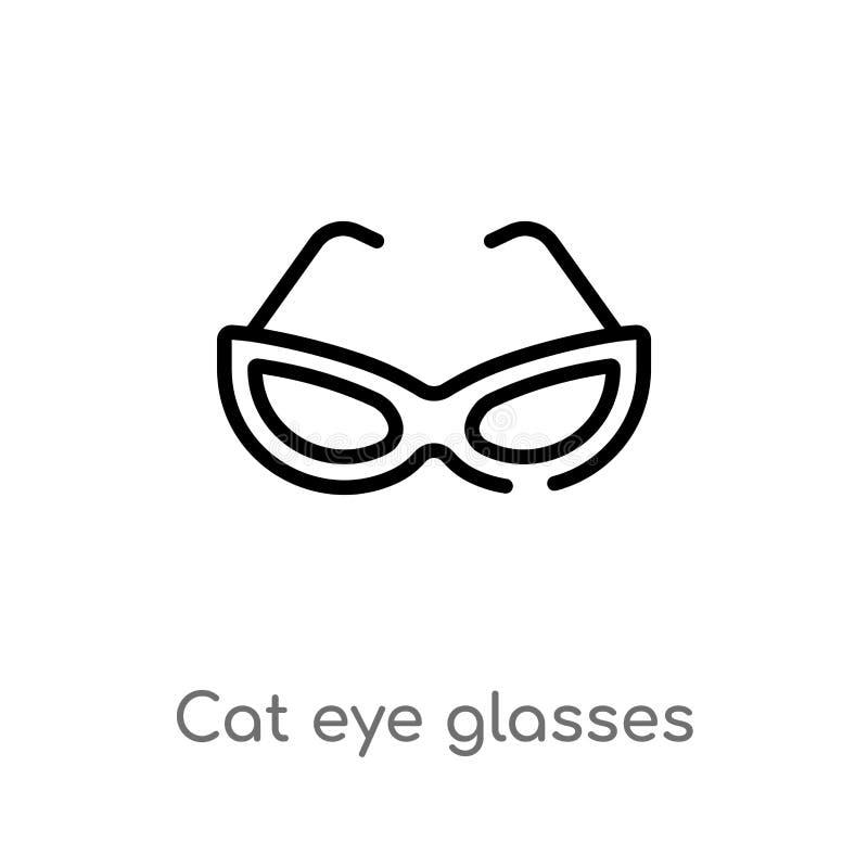 konturu kota oka szkieł wektoru ikona odosobniona czarna prosta kreskowego elementu ilustracja od odzie?owego poj?cia Editable we ilustracja wektor