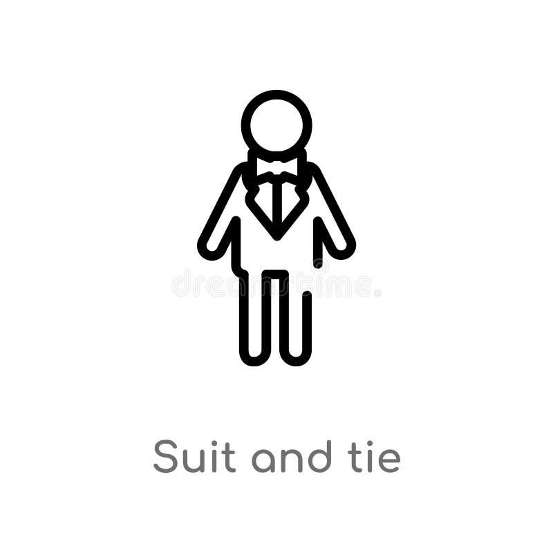 konturu krawata i kostiumu wektoru ikona odosobniona czarna prosta kreskowego elementu ilustracja od partyjnego pojęcia editable  ilustracja wektor