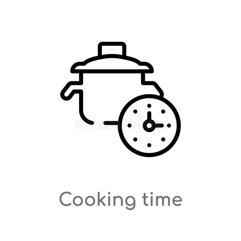 konturu kulinarnego czasu wektoru ikona odosobniona czarna prosta kreskowego elementu ilustracja od fasta food poj?cia Editable w royalty ilustracja