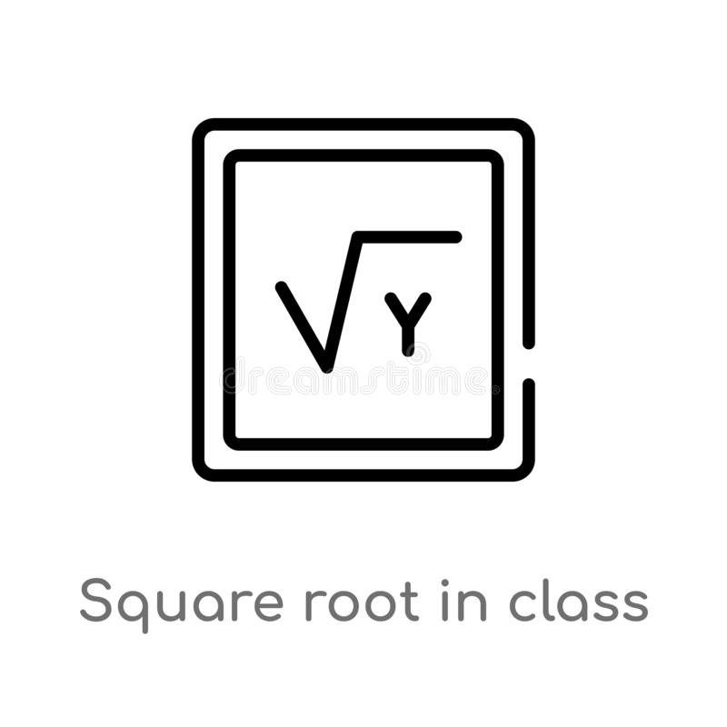 konturu kwadratowy korzeń w klasowej wektorowej ikonie odosobniona czarna prosta kreskowego elementu ilustracja od edukacji pojęc ilustracja wektor