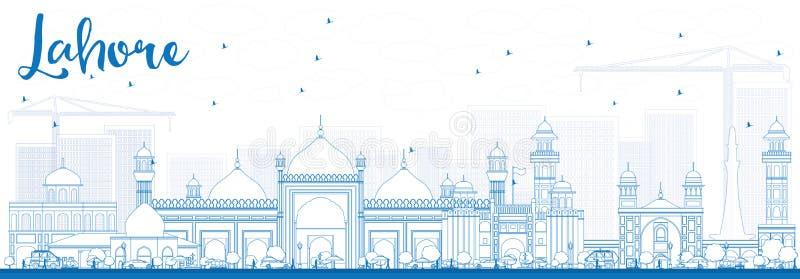 Konturu Lahore linia horyzontu z Błękitnymi punktami zwrotnymi ilustracja wektor