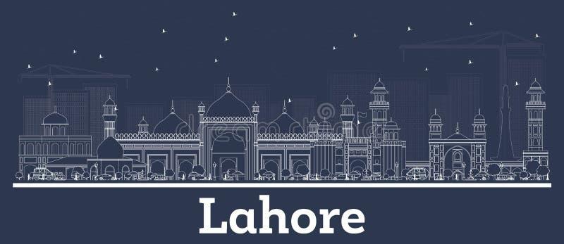 Konturu Lahore Pakistan miasta linia horyzontu z Białymi budynkami ilustracja wektor