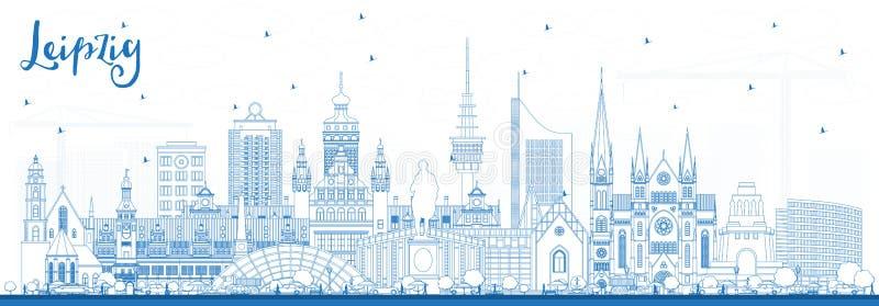 Konturu Leipzig Niemcy miasta linia horyzontu z Błękitnymi budynkami royalty ilustracja