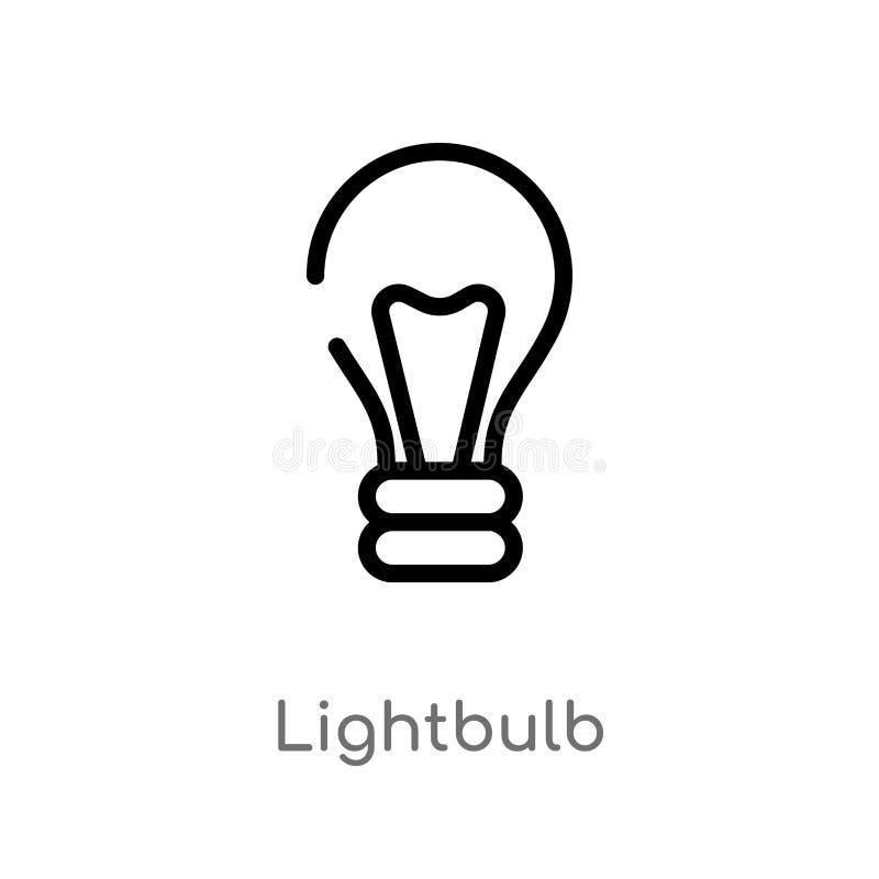 Konturu lightbulb wektoru ikona odosobniona czarna prosta kreskowego elementu ilustracja od m?drze domowego poj?cia Editable wekt royalty ilustracja