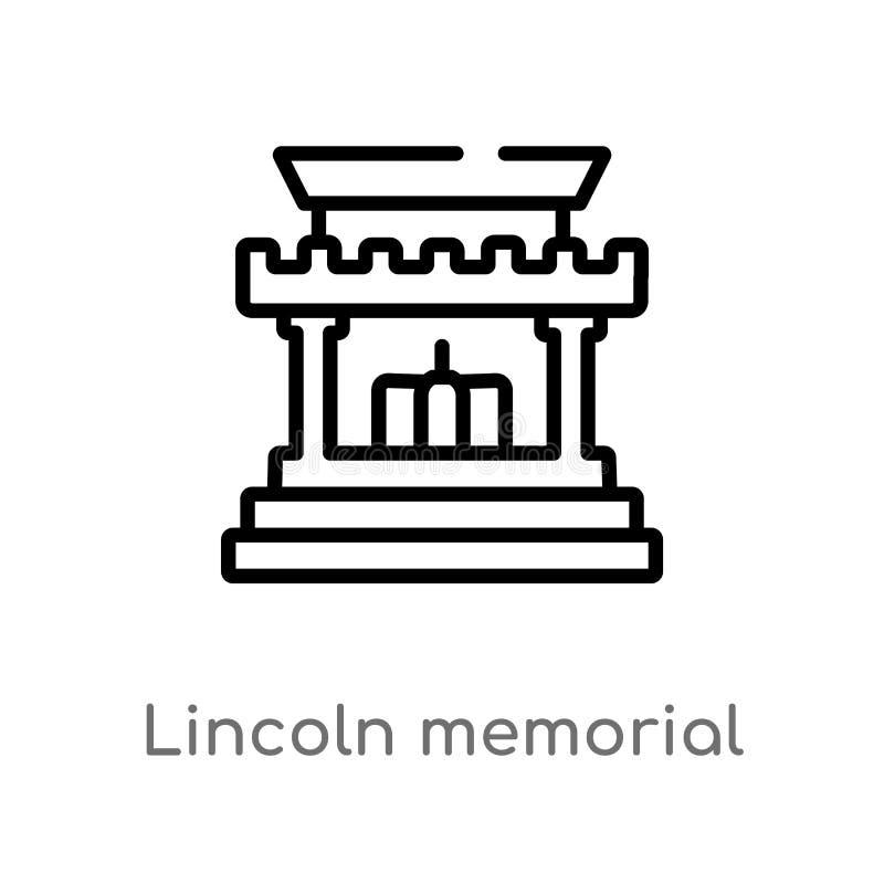 konturu Lincoln pami?tkowa wektorowa ikona odosobniona czarna prosta kreskowego elementu ilustracja od budynku poj?cia Editable w ilustracji